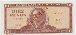 Cuba 10 Peso 1968 Pick 104 aUNC Specimen
