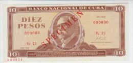 Cuba 10 Peso 1969 Pick 104 aUNC Specimen