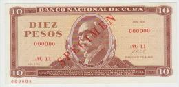 Cuba 10 Peso 1970 Pick 104 UNC Specimen