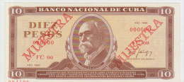 Cuba 10 Peso 1986 Pick 104 UNC Specimen