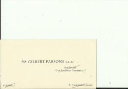 AUSTRIA  --  VISITING CARD  --    GILBERT PARSONS L. L. B.    --  SUB - EDITOR  ,, THE EUROPEAN COMMERCIAL ,, - Visitenkarten