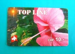 TOP LINE CHF 10. - Flowers Fleurs Flora Flore - Orchid ? ( Switzerland Prepaid Card ) GSM Remote Prepayee Carte Suisse - Switzerland