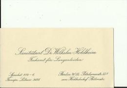 DEUTSCHLAND  --  VISITING CARD  --   SANITATSRAT Dr. WILHELM HOLDHEIM  --  FACHARZT - Visitenkarten