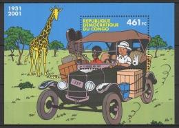 Congo B. (2001) Yv. Bf. 67  /  Joint Issue - Comics - Cartoons - 4x4 - Car - Dog - Chien - Milou - Tintin - Giraffe - Gezamelijke Uitgaven