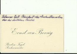 DEUTSCHLAND  --  VISITING CARD  --   ERNST VON BORSIG  --  GEHEIMER RAT, PRASIDENT DES INDUSTRIEVERBAND DER DES DEUTSCHE - Visitenkarten