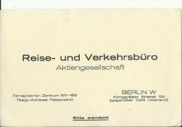 DEUTSCHLAND  --  VISITING CARD  --   REISE - UND VERKEHRSBURO , BERLIN - Visitenkarten