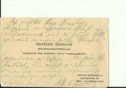 DEUTSCHLAND, BERLIN  --  VISITING CARD  --   RICHARD KESSLER  --   BUHNENSCHRIFTSTELLER  --  DIREKTOR DER BOHEME - FILM - Visitenkarten