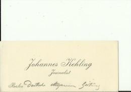 DEUTSCHLAND, BERLIN  --  VISITING CARD  --   JOHANNES KEHLING  --  JOURNALIST - Visitenkarten