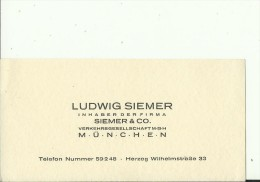 DEUTSCHLAND, MUNCHEN  --  VISITING CARD  --   LUDWIG SIEMER  --  INHABER - Visitenkarten