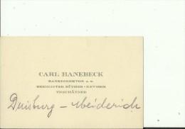 DEUTSCHLAND, DUISBURG   --  VISITING CARD  --   CARL HANEBECK  --   BANKDIREKTOR - Visitenkarten