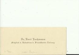 DEUTSCHLAND, FRANKFURT   --  VISITING CARD  --   Dr. KURT LACHMANN  --  FRANKF. ZEITUNG - Visitenkarten
