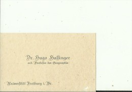 DEUTSCHLAND, FREIBURG   --  VISITING CARD  --   Dr. HUGO BAFFINGER  --  ORD. PROFESSOR DER GEOGRAPHIE - Visitenkarten