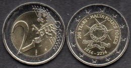 Edition 2 EURO Malta 2014 Stg. 14€ Verfassung 200 Jahre Polizei 2€-Münze Stempelglanz Police Force 1814 Coins Of Valetta - Malte