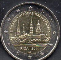 Sondermünze Europa Kultur-Hauptstadt Riga Stadt-Architektur Latvija 2014 Stg.12€ Münze Lettland Mzz.LV 2€ Coin Of,Latvia - Letonia
