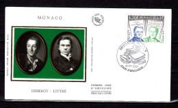 """MONACO 2001 : FDC En Soie """" LITTRE / DIDEROT """" N° YT 2308. Parfait état ! - Ecrivains"""