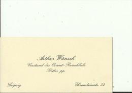 DEUTSCHLAND   --   LEIPZIG  --   VISITING CARD  --   ARTHUR WUNSCH  --  VORSTAND DES ORIENT - REISEKLUBS, RITTER Pp - Visitenkarten