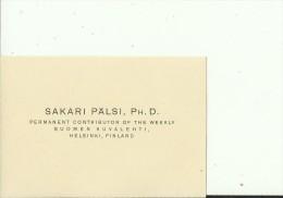 FINLAND, HELSINKI --   VISITING CARD  --   SAKARI PALSI - Visitenkarten