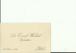 SCHWEIZ, ZURICH --   VISITING CARD  --   Dr. ERNST WEIBEL  --  REDAKTOR - Visitenkarten