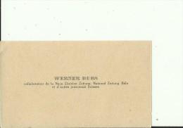 SCHWEIZ, BASEL  --   VISITING CARD  --   WERNER DUBS  --  COLLABORATEUR DE LA NEUE ZURICHER ZEITUNG - Visitenkarten