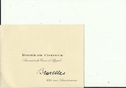 BELGIE, BRUXELLES  --   VISITING CARD  --   ROGER CONINCK  --  AVOCAT A LA COUR D APPEL - Visitenkarten