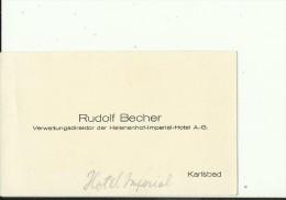 CZECH, KARLSBAD  --   VISITING CARD  --  JAN ZLAMAL  --  RUDOLF BECHER  --  VERW. DIREKTOR DER HELENENHOF - IMPERIAL HOT - Visitenkarten