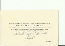CZECH, PRAHA  --   VISITING CARD  --  FRANTISEK HLAVINKA  --  SEKRETAR ..   RADU MINISTERSTVA POST...... - Visitenkarten