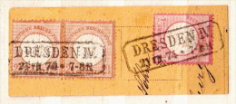 Deutsches Reich Used Stamps On Piece, Michel 21 X 2 And 19, CV 173€ - Allemagne