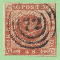 """DEN SC #4 Royal Emblems  4 Margins  """"72"""" (Thisted) In Conc. Circles, CV $15.00 - 1851-63 (Frederik VII)"""