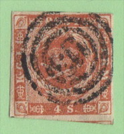"DEN SC #4 Royal Emblems  4 Margins  ""113"" (Altona) In Conc. Circles, CV $15.00 - 1851-63 (Frederik VII)"