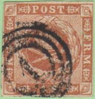 """DEN SC #4a  1854 Royal Emblems  4 Margins  """"1"""" (Kjobenhavn) In Conc. Circles, CV $15.00 - 1851-63 (Frederik VII)"""