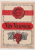 étiquette De Vin De Table :  Vin Vermeil 10°. J Deltheil Négociant à Chartres. 1950-1960 - Labels