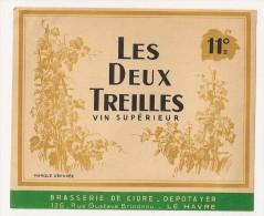 étiquette De Vin De Table : Les Deux Treilles, Vin Supérieur 11°. 1950-1960 - Unclassified