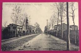 SALUTI DA S.FIOR DI SOPRA - VIA SACILE  - CARTOLINA EDITORE LUIGI MANTELLI . UDINE - VIAGGIATA 1916 - Treviso