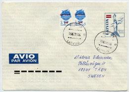 LATVIA 1992 300 K. Postal Stationery Envelope On Fluorescent Paper. Used  Michel U23 I - Latvia