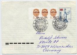 LATVIA 1992 100 K. Postal Stationery Envelope On Ordinary Paper. Used With Commemorative Postmark  Michel U22 II - Latvia