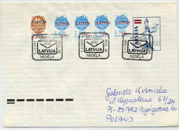 LATVIA 1992 100 K. Postal Stationery Envelope On Fluorescent Paper. Used With Commemorative Postmark  Michel U22 I - Latvia