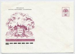 LATVIA 1990 (5 K). Oak Tree Postal Stationery Envelope Unused  Michel U1 Cat. €8 - Latvia