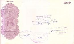 INDIA 1973 MAHARASHTRA HUNDI 50 NAYE PAISE  - ISSUED BY SADHANA KNITTERS ON THE BANK OF INDIA LIMITED, BOMBAY BRANCH - Bills Of Exchange
