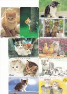Lot 10 Telecartes Japon Chat - Cat - Kat - Phonecards (chat 3) (au Plus Rapide) - Cats