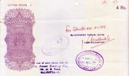 INDIA UTTARPRADESH HUNDI - RUPEES 4 - ISSUED BY CAWNPORE TEXTILES LIMITED ON PUNJAB NATIONAL BANK, NAYAGANJ, KANPUR - Bills Of Exchange