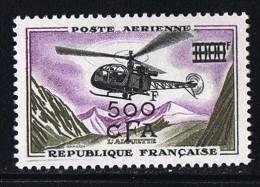 Hélicoptère Alouette  Surchargé 500 CFA  Yv PA 57  **  MNH - Réunion (1852-1975)