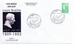 FRANCE 2009. SPECIAL POSTMARK. LOUIS BRAILLE. - Beroemde Personen