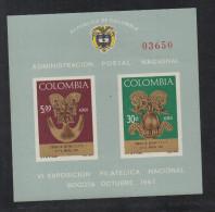 HF28-KOLUMBIEN / COLOMBIA.-S/S.- MI: BLOCK  28- 1967.- MNH .-. ARCHAELOGY-GOLD ARTIFACTS .-.  CV €: 15.00 - Kolumbien