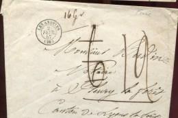 73320 H -  Enveloppe Artisanale Sans TP Cad Type 15 LES ANDELYS (26) Fevr 1857, Taxe 6 Puis  12 TB - Postage Due Covers