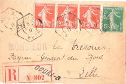 2917 DOUAI B Nord Lettre Recommandée 1911 Ob Recette Auxiliaire Urbaine Lautier D2d Semeuse Yv 137 138 5c Variété Impres - Postmark Collection (Covers)