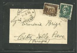 DA SIENA A CITTA' DELLA PIEVE - 1.2.1936. - Storia Postale