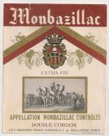 étiquette De Vin De Table : Monbazillac. Double Cordon. Les Grands Chais Vinicoles De Boulogne Sur Mer. 1950-1960 - Etiquettes