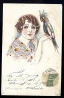 Cpa Illustrateur Mauzan La Femme Au Perroquet    AO14 - Mauzan, L.A.