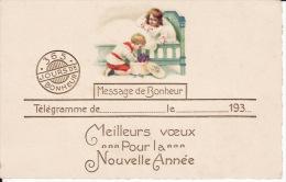 Bonne Année,Enfants Déballant Un Cadeau, Message , Télégramme De Bonheur 1 ( 1930 2 Scans ) - Nouvel An