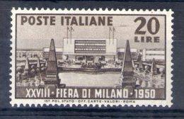 MC 1950 Fiera Di Milano Nuovo Con Leggera Traccia Di Linguella MLH* - 1946-.. République